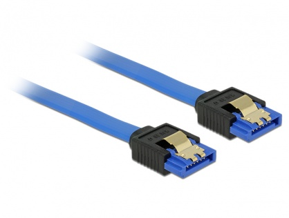 Cablu SATA III 6 Gb/s drept/drept Bleu 20cm, Delock 84977