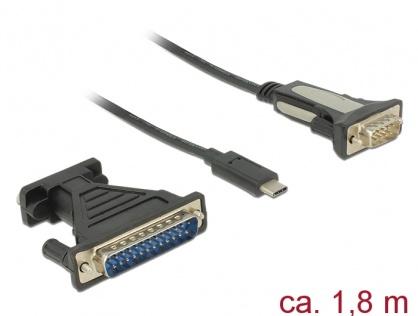 Adaptor USB-C la Serial RS232 DB9 + adaptor DB25 FTDI, Delock 62904
