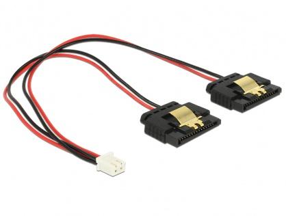 Cablu de alimentare 2 pini (Banana Pi) la 2 x SATA 15 pini 5V cu clips M-M 20cm, Delock 85249