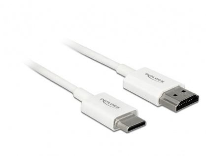 Cablu HDMI la mini HDMI-C T-T 3D 4K 1m Slim Premium Alb, Delock 85142
