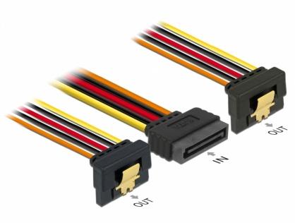 Cablu alimentare SATA 15 pini la 2 x SATA clips metalic unghi T-M 30cm, Delock 60159