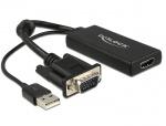 Convertor VGA la HDMI cu Audio Negru, Delock 62668