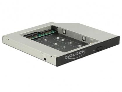"""Installation frame (caddy) Slim SATA 5.25"""" pentru 1 x M.2 SSD Key B / 1 x mSATA SSD, Delock 62718"""
