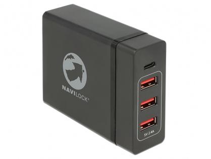 Incarcator laptop cu 1 x USB-C PD + 3 x USB-A  20V 3A (max. 60 W)  Negru, Navilock 62950