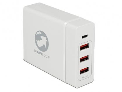 Incarcator laptop cu 1 x USB-C PD + 3 x USB-A  20V 3A (max. 60 W) Alb, Navilock 62952