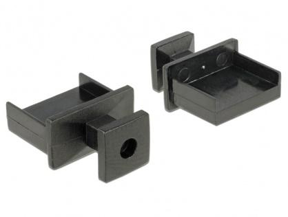 Protectie impotriva prafului pentru conector USB-A cu prindere Negru set 10 buc, Delock 64009