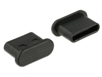 Protectie impotriva prafului pentru conector USB-C Negru set 10 buc, Delock 64014