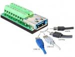 Adaptor Multiport USB 3.0 + eSATAp mama la bloc Terminal 18 pini, Delock 65405