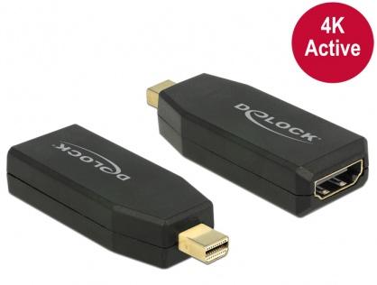 Adaptor mini Displayport 1.2 la HDMI T-M 4K Activ negru, Delock 65581