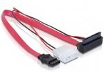 Cablu alimentare micro SATA la Molex 2 pini 5V + SATA in unghi, Delock 82550