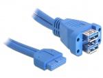 Cablu USB 3.0 pin header la 2 x USB 3.0-A M-M, Delock 82942