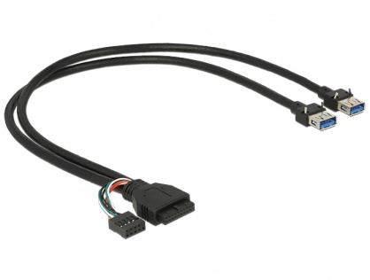 Cablu pin header USB 3.0 + USB 2.0 pin header la  2 x USB 3.0-A M-M 45cm, Delock 83829