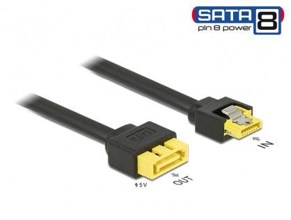 Cablu SATA 6 Gb/s 7 pini la conector de alimentare SATA 8 pini 0.3m, Delock 84946