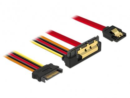 Cablu de date + alimentare SATA 22 pini 6 Gb/s cu clips la SATA 15 pini + SATA 7 pini unghi jos/drept 30cm, Delock 85229