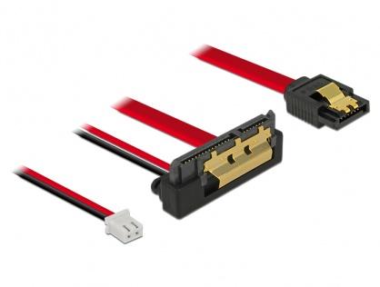 Cablu de date + alimentare SATA 22 pini 5V 6 Gb/s cu clips la Alimentare 2 pini + SATA 7 pini unghi jos/drept 20cm, Delock 85241