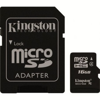 Card de memorie micro SDHC + adaptor 16GB clasa 4, KINGSTON SDC4/16GB