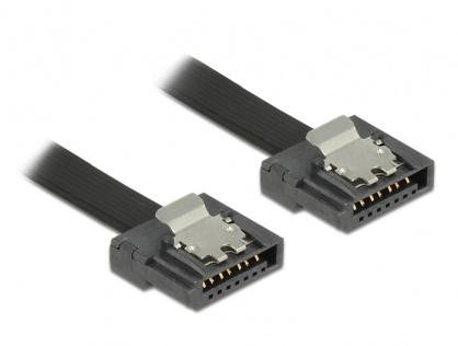Cablu SATA III FLEXI 6 Gb/s 70 cm black metal, Delock 83842
