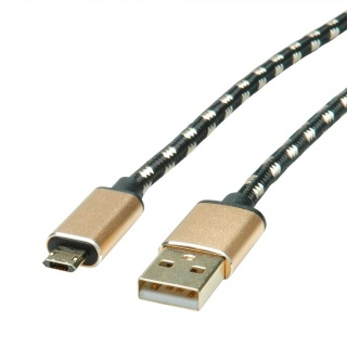Cablu micro USB-B reversibil la USB 2.0 GOLD T-T 0.8m, Roline 11.02.8819