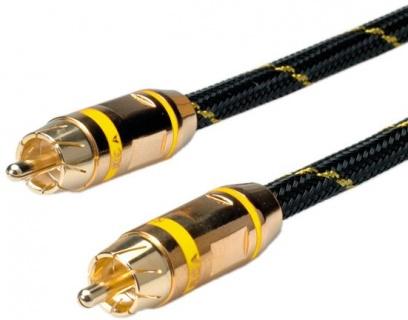 Cablu GOLD audio RCA simplex Galben T-T 2.5m, Roline 11.09.4233
