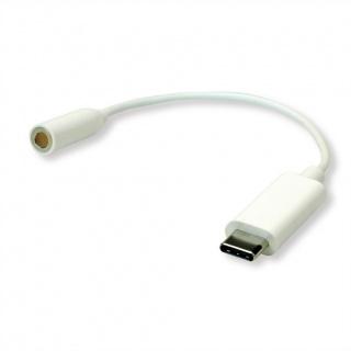 Adaptor audio USB-C la jack 3.5mm T-M 0.13m Alb, Roline 12.03.3213