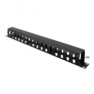 "Front Panel 19"" 1U cu organizator pentru cabluri 40x40mm RAL7035 Negru, Value 26.99.0304"