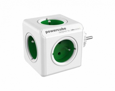 Prelungitor in forma de cub PowerCube Original 5 prize Schuko Verde, Allocacoc