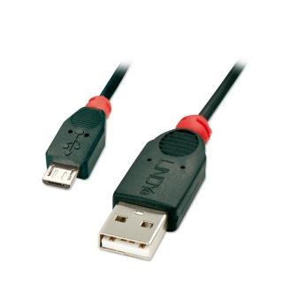 Cablu micro USB 2.0 la USB-A 2m T-T Negru, Lindy L41803