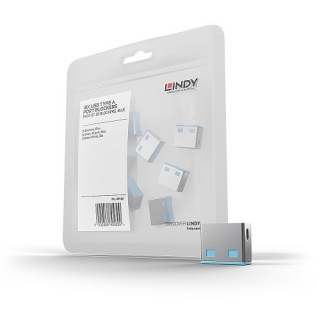 USB Port Blocker 10 bucati bleu, Lindy L40462