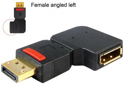 Adaptor Displayport T-M unghi stanga, Delock 65377