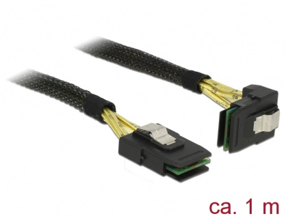 Cablu Mini SAS SFF-8087 la Mini SAS SFF-8087 unghi 90 grade 1m, Delock 83642