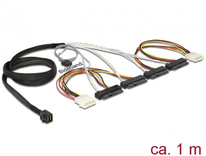 Cablu Mini SAS HD SFF-8643 la 4 x SAS SFF-8482 + power + Sideband 1m, Delock 83391