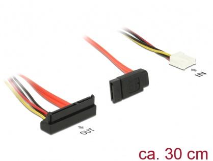 Cablu de alimentare SATA 7 pini + alimentare Molex la SATA 22 pini unghi jos 30cm, Delock 84854