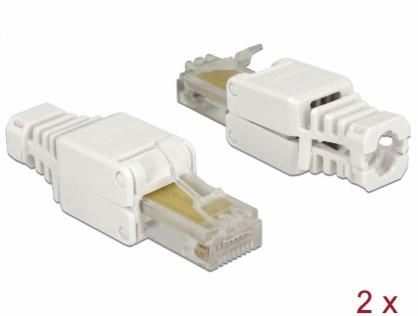 Set 2 bucati conector RJ45 Cat.5e pentru fir solid UTP toolfree, Delock 86415