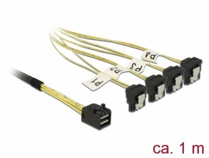 Cablu Mini SAS HD SFF-8643 la 4 x SATA unghi 1m, Delock 85685