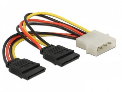 Cablu alimentare Molex la 2 x SATA T-M, Delock 60102