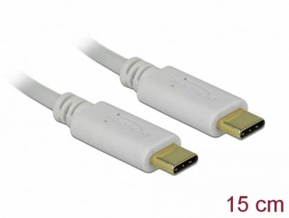Cablu USB-C de incarcare 15cm T-T PD 5A cu EMarker Alb, Delock 85815