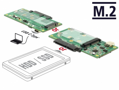 Convertor USB 3.1 Gen 2 tip C la 1 x SATA / 1 x M.2 Key B / 1 x mSATA, Delock 62993