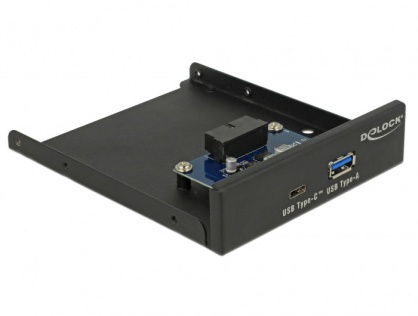 """Front Panel 3.5"""" USB 3.1 Gen 1 cu 1 x USB-A + 1 x USB-C, Delock 63962"""