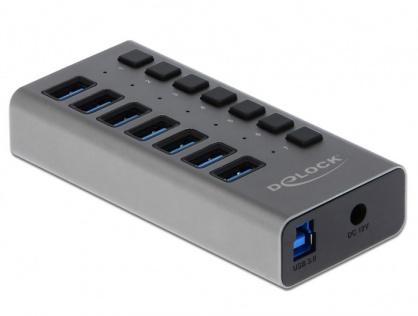 HUB cu 7 porturi USB 3.0 + switch ON/OFF Negru, Delock 63975