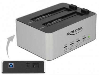 Dual Docking Station 2 x SATA HDD / SSD la USB 3.0 functie de Clona carcasa metalica, Delock 63991
