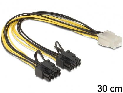 Cablu PCI Express 6 pini la 2 x 8 pini M-T 30cm, Delock 83433