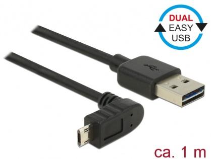 Cablu EASY-USB 2.0-A la EASY-Micro USB 2.0 T-T unghi sus/jos 1m, Delock 83848