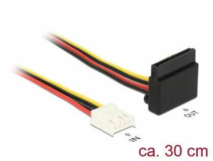 Cablu de alimentare SATA 15 pini la Floppy 4 pini M-M 30cm, Delock 85510