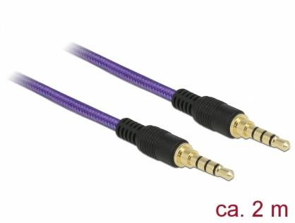 Cablu audio jack stereo 3.5mm (pentru smartphone cu husa) T-T 4 pini 2m mov, Delock 85599