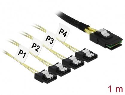 Cablu Mini SAS SFF-8087 la 4 x SATA 7 pini 1m metal, Delock 85731