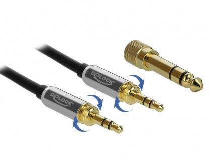 Cablu jack stereo 3.5mm 3 pini T-T + adaptor cu surub 6.35 mm 5m, Delock 85788