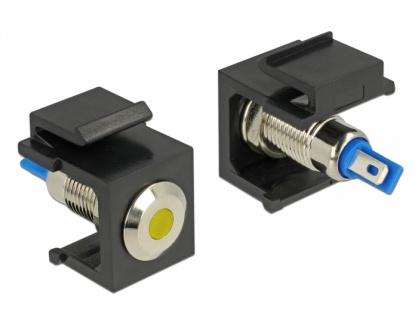Keystone negru cu LED galben 6V flat, Delock 86462