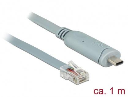 Cablu USB-C la Serial RS-232 RJ45 T-T 1m Gri, Delock 89893