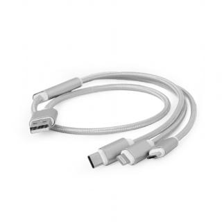 Cablu USB 2.0 la Micro USB-B, USB-C si Lightning Apple 1m, Gembird CC-USB2-AM31-1M-S