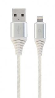 Cablu date + incarcare USB la iPhone Lightning Premium 1m Argintiu/Alb, Gembird CC-USB2B-AMLM-1M-BW2